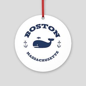 souv-whale-boston-LTT Round Ornament