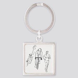 Triathlon Woman Square Keychain