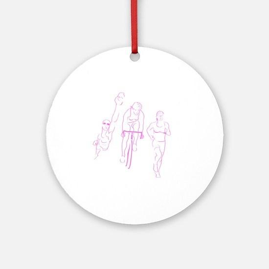 Triathlon Woman Round Ornament