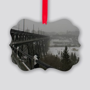 High Level Bridge on a Foggy Wint Picture Ornament