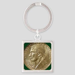 Daniel Boone Half Dollar Coin  Square Keychain