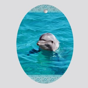 Dolphin Blue Water Oval Ornament