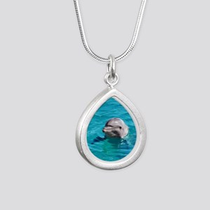 Dolphin Blue Water Silver Teardrop Necklace