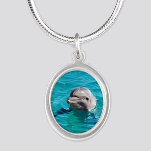 Dolphin Blue Water Silver Oval Necklace