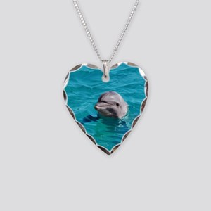 Dolphin Blue Water Necklace Heart Charm