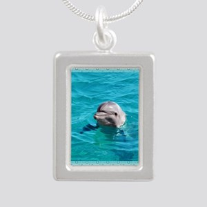Dolphin Blue Water Silver Portrait Necklace
