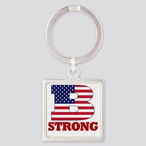 b strong(blk) Square Keychain