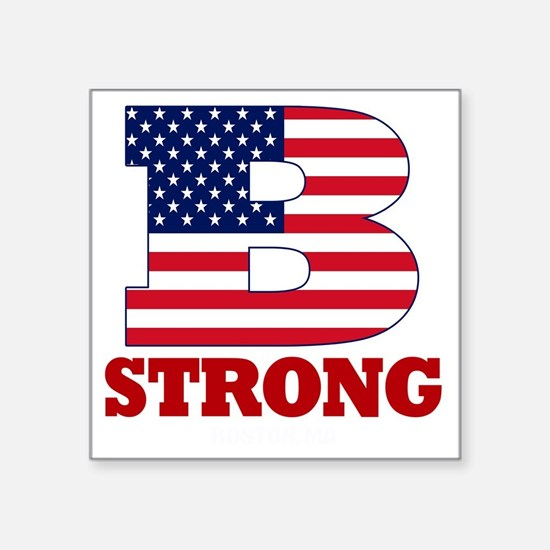 "b strong(blk) Square Sticker 3"" x 3"""