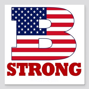 "b strong(blk) Square Car Magnet 3"" x 3"""