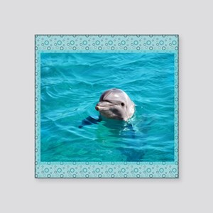 "Dolphin Blue Water Square Sticker 3"" x 3"""