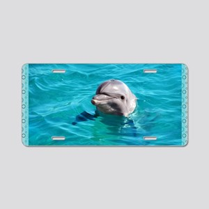 Dolphin Blue Water Aluminum License Plate