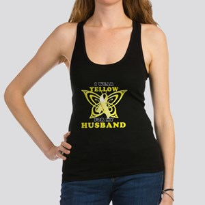 I Wear Yellow For My Husband Racerback Tank Top