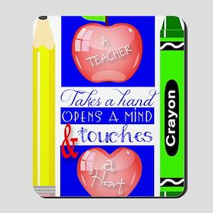 Teacher Touches a Heart Image Mousepad