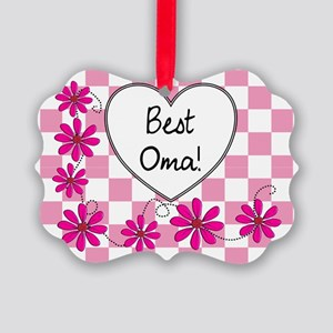 Best Oma Pink daisies Picture Ornament