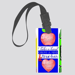 Teacher Touches a Heart Image Large Luggage Tag