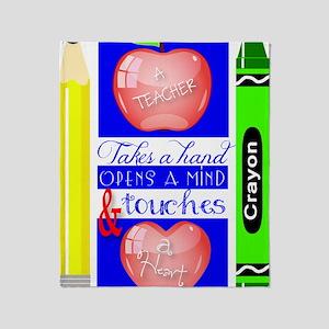 Teacher Touches a Heart Image Throw Blanket