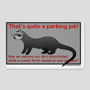 Parking Ferret (grey-red) 3'x5' Area Rug