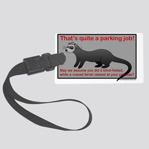 Parking Ferret (grey-red) Large Luggage Tag