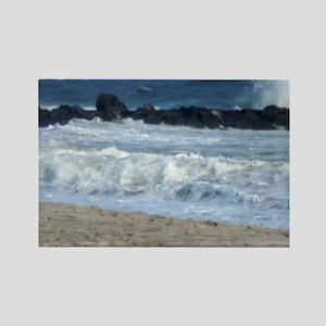 Ocean Beach Rocks Cape May Shower Rectangle Magnet