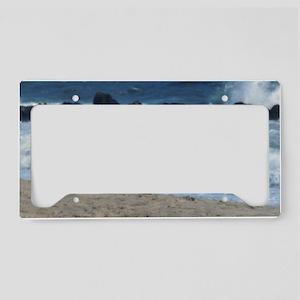 Ocean Beach Rocks Cape May Sh License Plate Holder