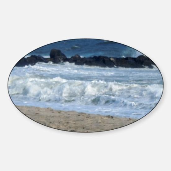 Ocean Beach Rocks Cape May Shower C Sticker (Oval)