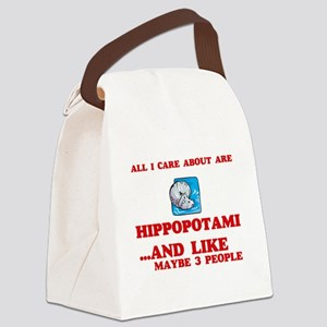 All I care about are Hippopotami Canvas Lunch Bag