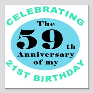 "80th Birthday Humor Square Car Magnet 3"" x 3"""