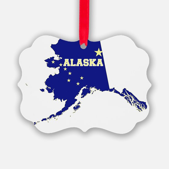 Alaska State Map and Flag Ornament