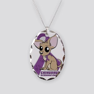 Chihuahuas for Alzheimers Awar Necklace Oval Charm
