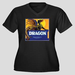 Dragon Women's Plus Size V-Neck Black T-Shirt