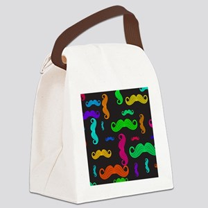 Colorful Mustache Pattern Canvas Lunch Bag