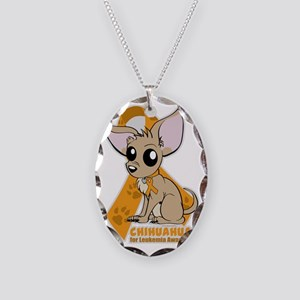 Chihuahuas for Leukemia Necklace Oval Charm