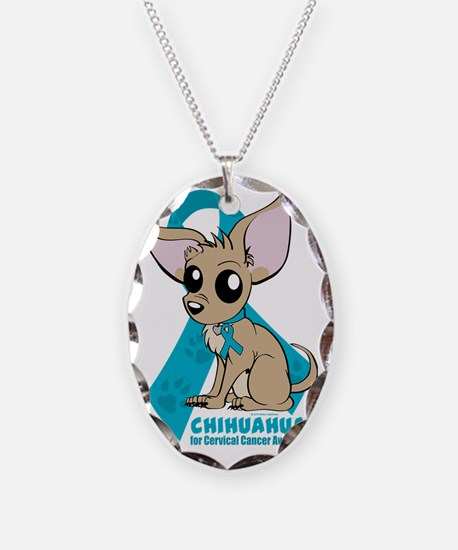 Chihuahuas for Cervical Cancer Necklace Oval Charm
