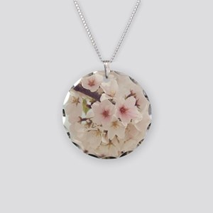 JAPANESE CHERRY BLOSSOMS Necklace Circle Charm