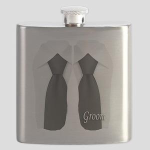 groom black tie flip flop Flask
