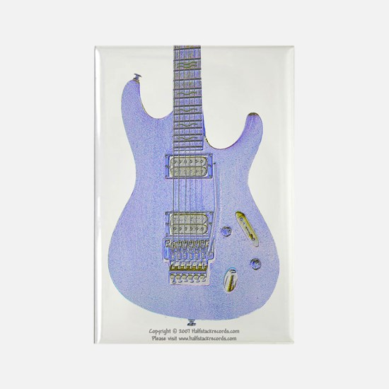 """Neon Blue"" Guitar Rectangle Magnet"
