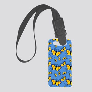 Gold Butterflies on Blue Small Luggage Tag