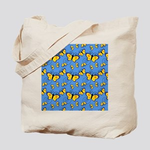 Blue and Gold Butterflies Tote Bag
