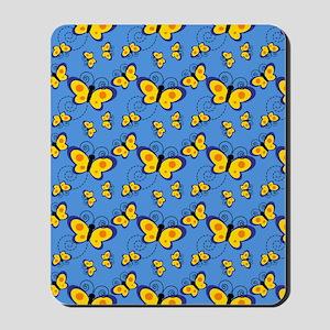 Blue and Gold Butterflies Mousepad
