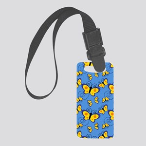 Blue and Gold Butterflies Small Luggage Tag