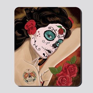 Blue Skull - dia de los muertos Pin-up Mousepad