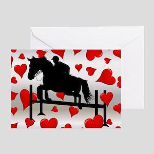 Fun Horse Jumper and Hearts Greeting Card