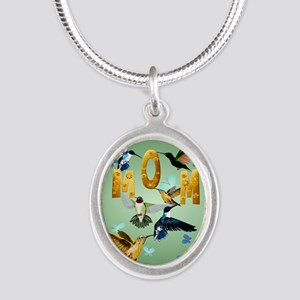 Circle MOM-For to the birds Silver Oval Necklace