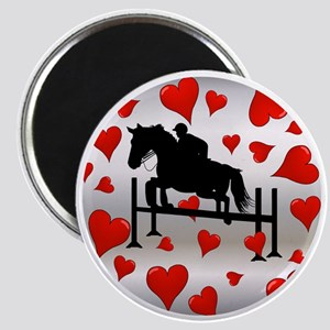 Fun Horse Jumper and Hearts Magnet