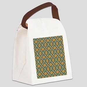 Elegant Aqua and Orange Canvas Lunch Bag