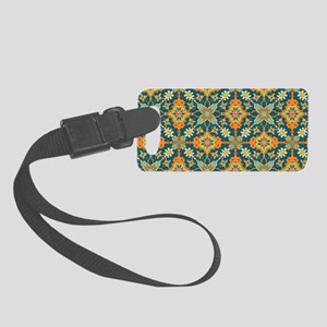 Elegant Aqua and Orange Small Luggage Tag