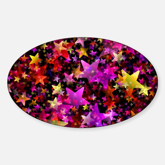 Rainbow Stars Sticker (Oval)