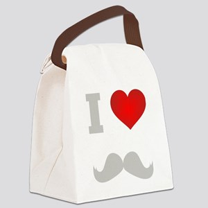 I Heart Mustache Canvas Lunch Bag