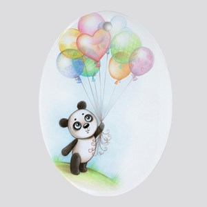 Panda and balloons Oval Ornament