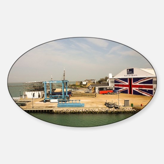 Isle of Wight Union Jack Doors Sticker (Oval)